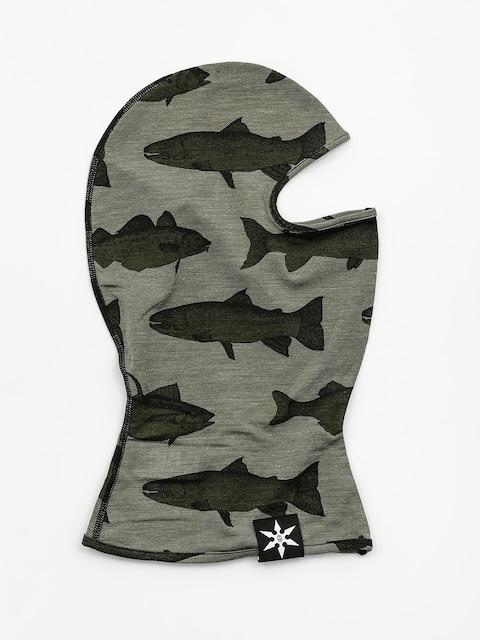 Šátek Airblaster Merino Ninja Face (olive fish print)