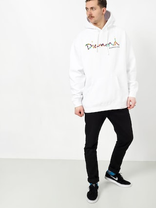 Mikina s kapucí Diamond Supply Co. Og Script Fasten HD (white)
