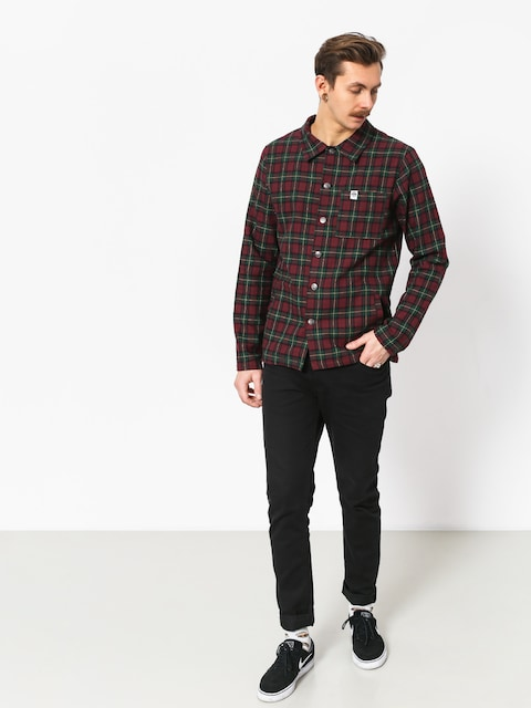 Košile The Hive Flannel Overshirt (burgundy/green)