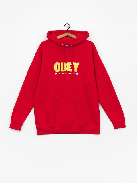Mikina s kapucí OBEY Obey Records 2 HD (red)