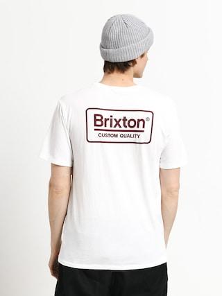 Tričko Brixton Palmer Prem (white/burgundy)