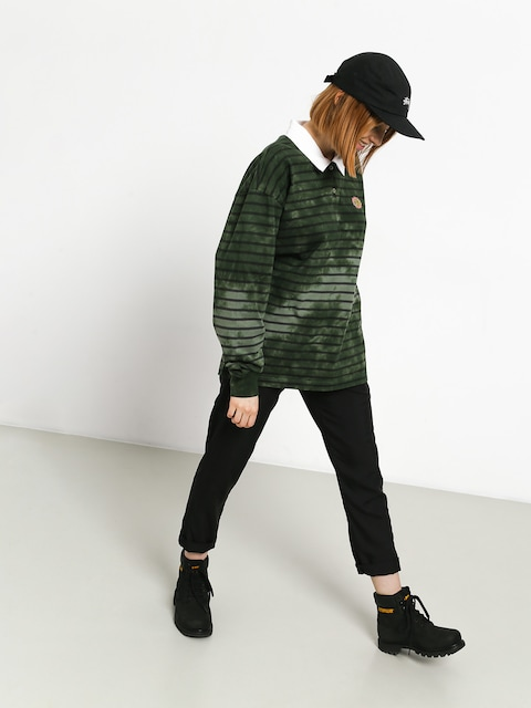 Triko Stussy Lucy Bleach Stripe Rugby Wmn (olive)