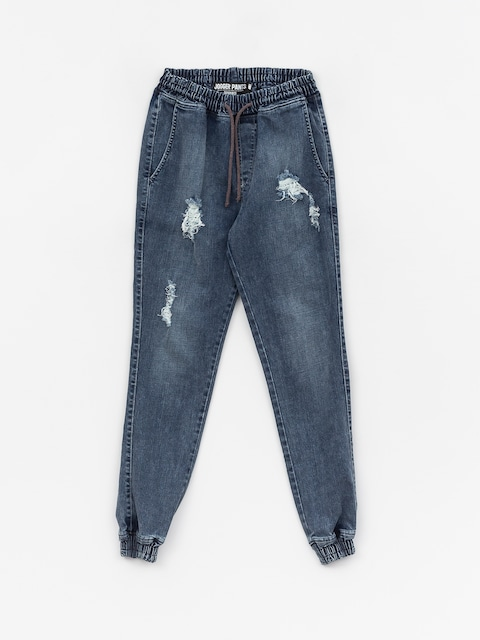 Kalhoty Diamante Wear Rm Jeans Jogger (ripped blue jeans)