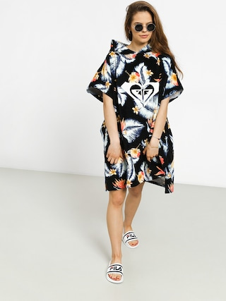Mikina s kapucí Roxy Poncho Pass This On Again Solid Wmn (anthracite tropical)