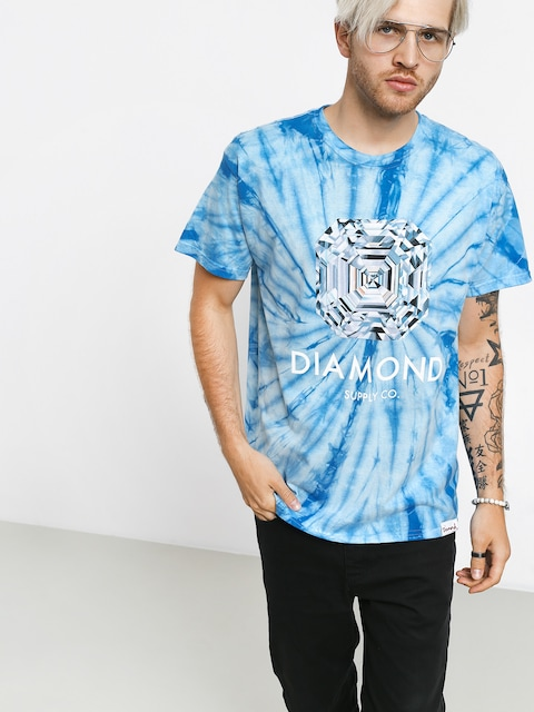 Tričko Diamond Supply Co. Asscher Cut Tie Dye (blue)
