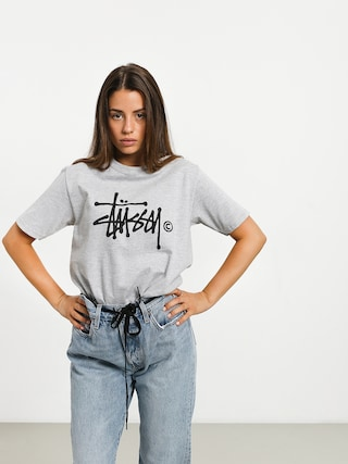 Tričko Stussy Basic Logo Wmn (grey heather)