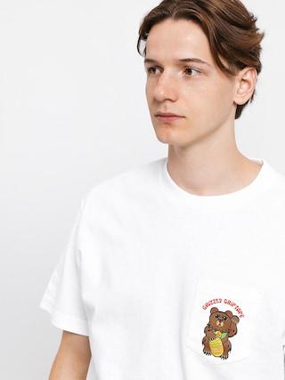 Tričko Grizzly Griptape Lucky Bear Pocket (white)