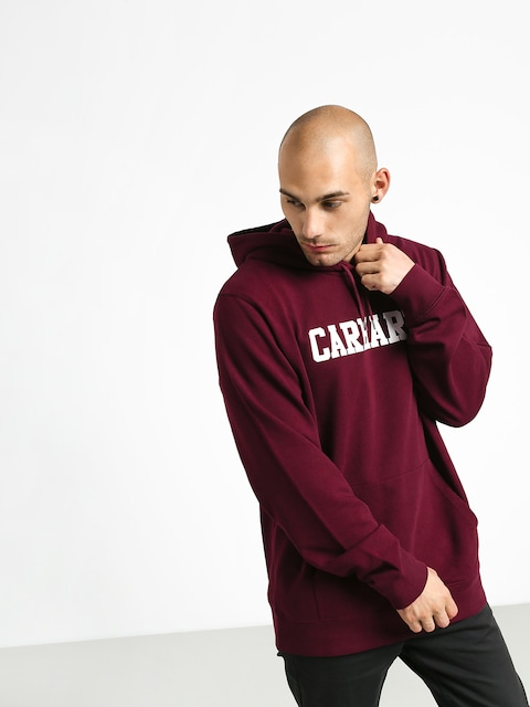 Mikina s kapucí Carhartt WIP College HD (merlot/white)