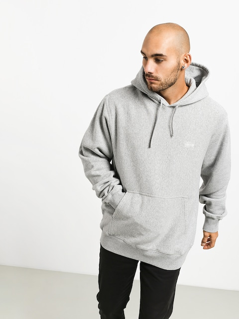 Mikina s kapucí Stussy Stock Logo HD (grey heather)