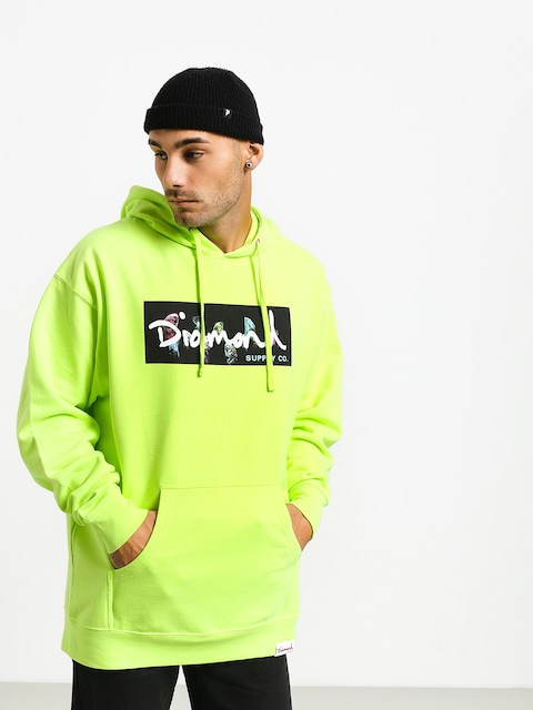 Mikina s kapucí Diamond Supply Co. Color Box Logo HD (safety green)