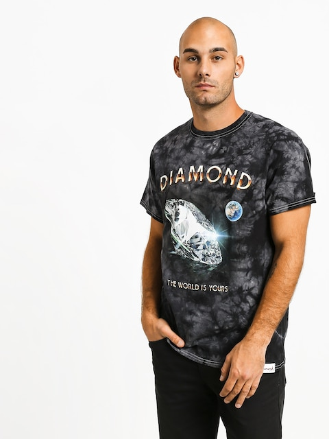Tričko Diamond Supply Co. World Is Yours Crystal Wash (black)