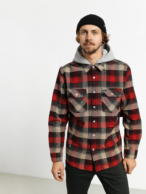 Košile Brixton Bowery HD Flannel Ls (red/black combo)