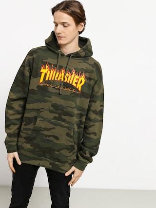 Mikina s kapucí Thrasher Flame HD (forest camo)