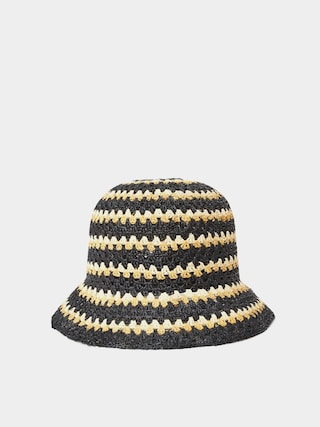 Klobouk Brixton Essex Raffia Bucket Hat Wmn (black/white/sunset)