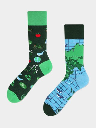 Ponožky Many Mornings Save The Planet (green/blue)
