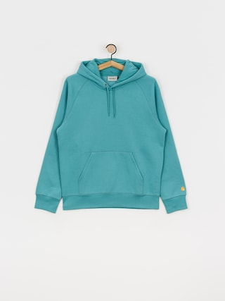 Mikina s kapucí Carhartt WIP Chase HD (frosted turquoise/gold)