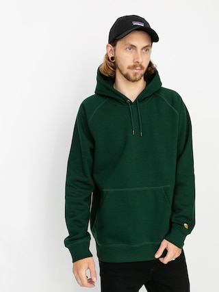 Mikina s kapucí Carhartt WIP Chase HD (bottle green/gold)