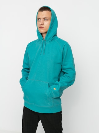 Mikina s kapucu00ed Carhartt WIP Chase HD (frosted turquoise/gold)