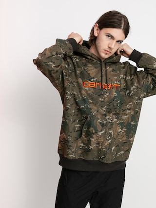 Mikina s kapucu00ed Carhartt WIP Carhartt HD (camo combi/safety orange)