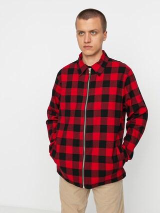 Košile The Hive Flannel Overshirt Zip (black/red)