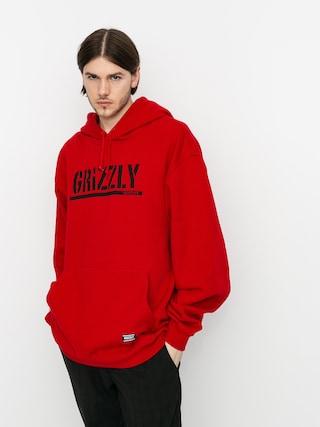 Mikina s kapucu00ed Grizzly Griptape OG Stamp HD (red/black)