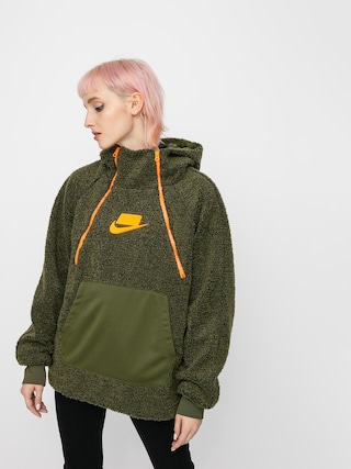 Mikina s kapucí Nike Sherpa HD Wmn (olive canvas/olive canvas/cone/cone)