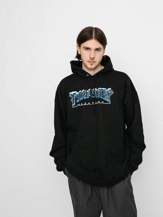 Mikina s kapucí Thrasher Black Ice HD (black)