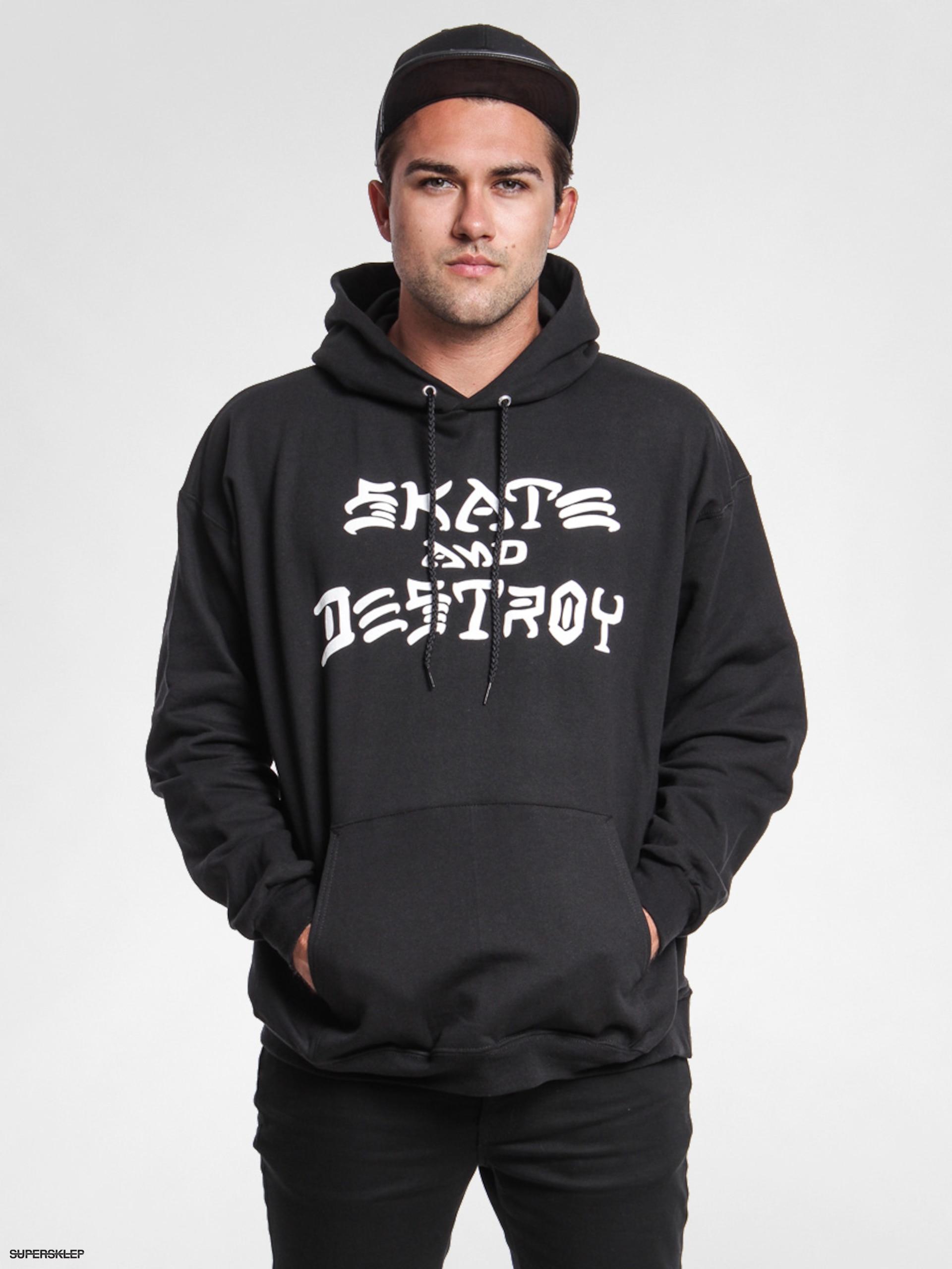 Mikina s kapucí Thrasher Skate And Destroy HD (black) 13295831acd