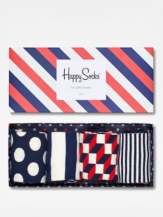 Ponou017eky Happy Socks Giftbox 4pk (navy/white/red)