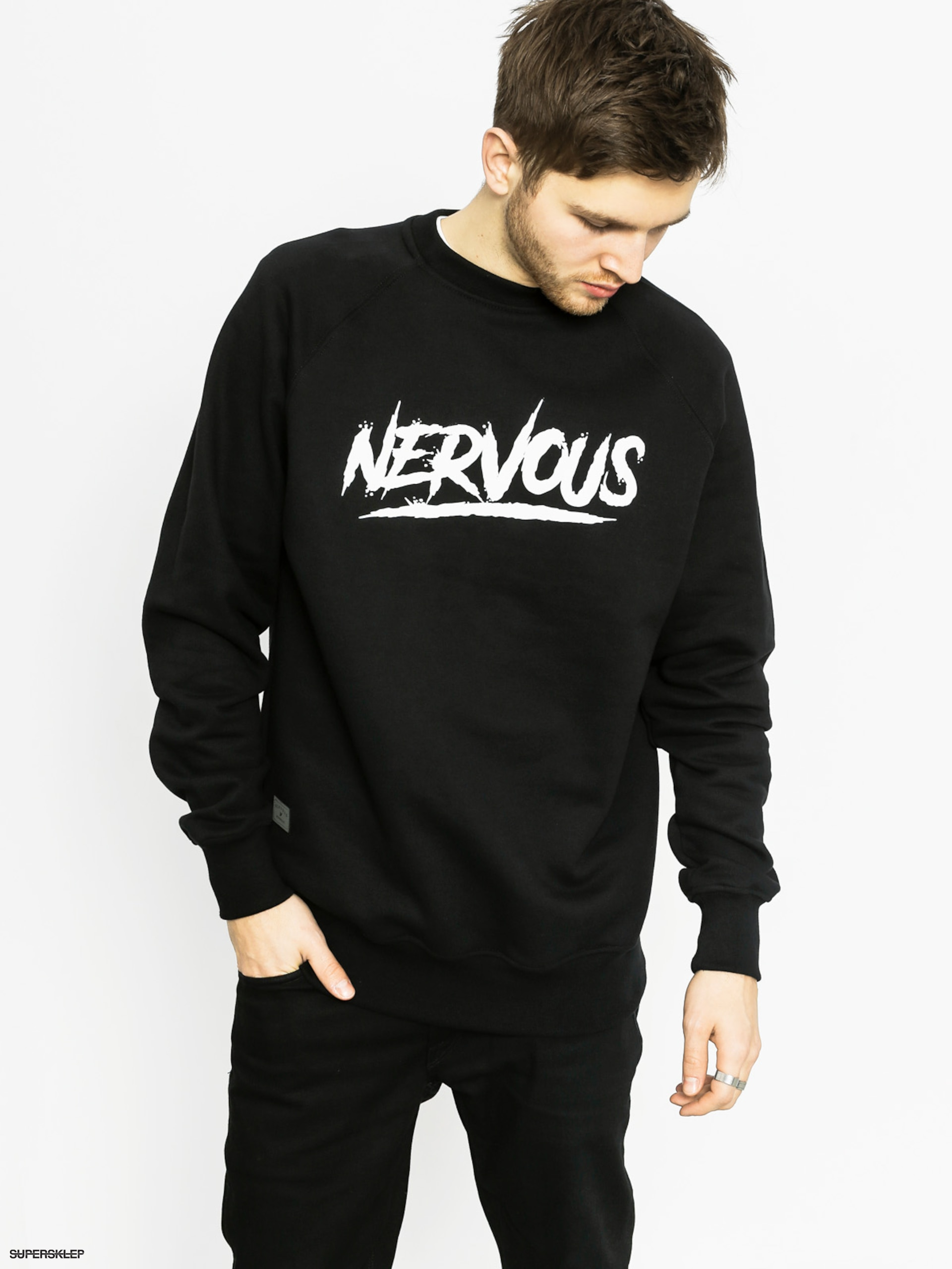 Mikina Nervous Scratch Crew (black)
