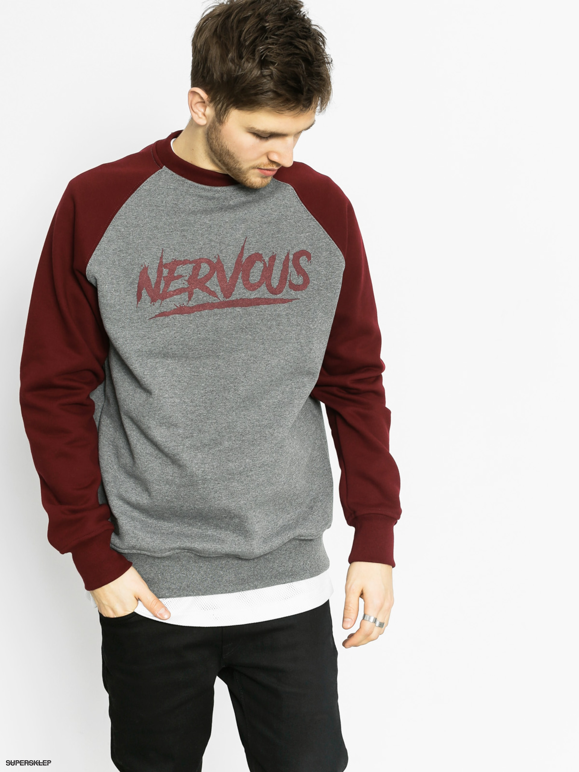 Mikina Nervous Scratch Crew (grey/maroon)