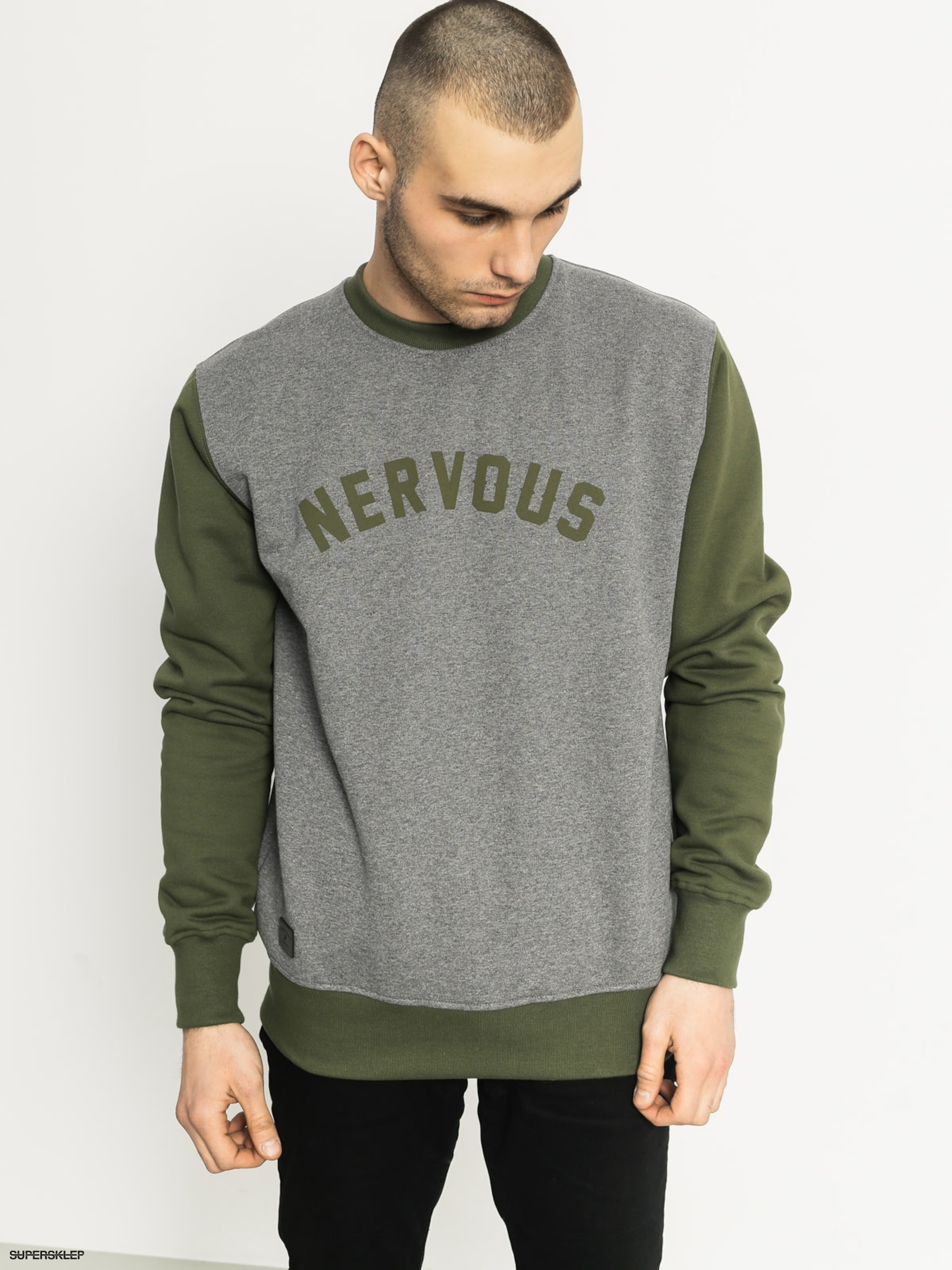 Mikina Nervous College (grey/olive)