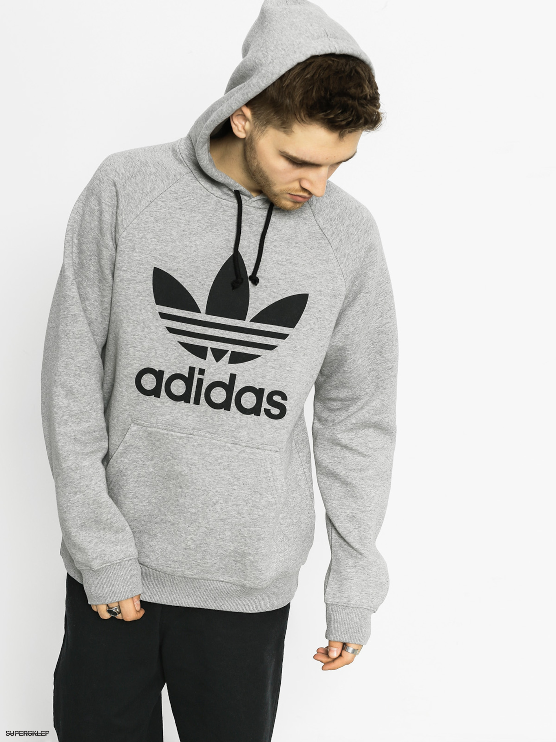Mikina s kapucí adidas Trefoil HD (medium grey heather)