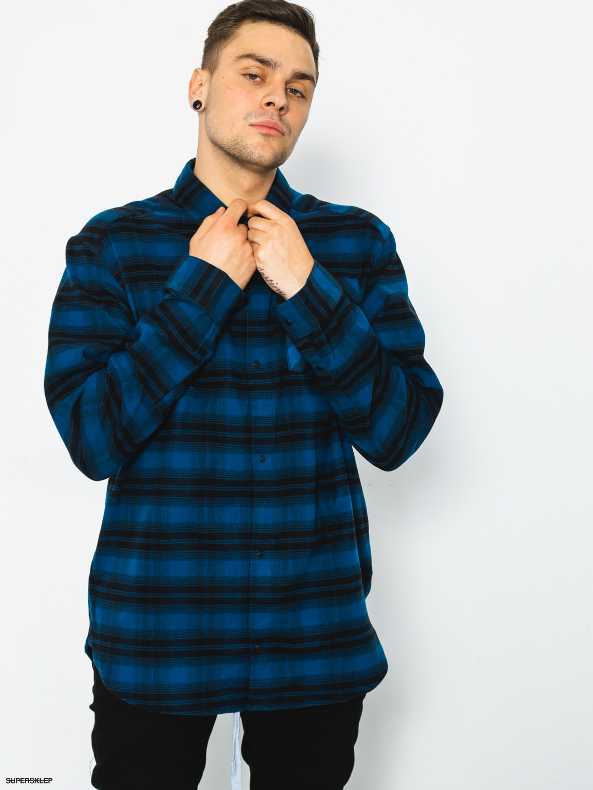 Košile adidas Stretch Flannel (blue night f17/black)