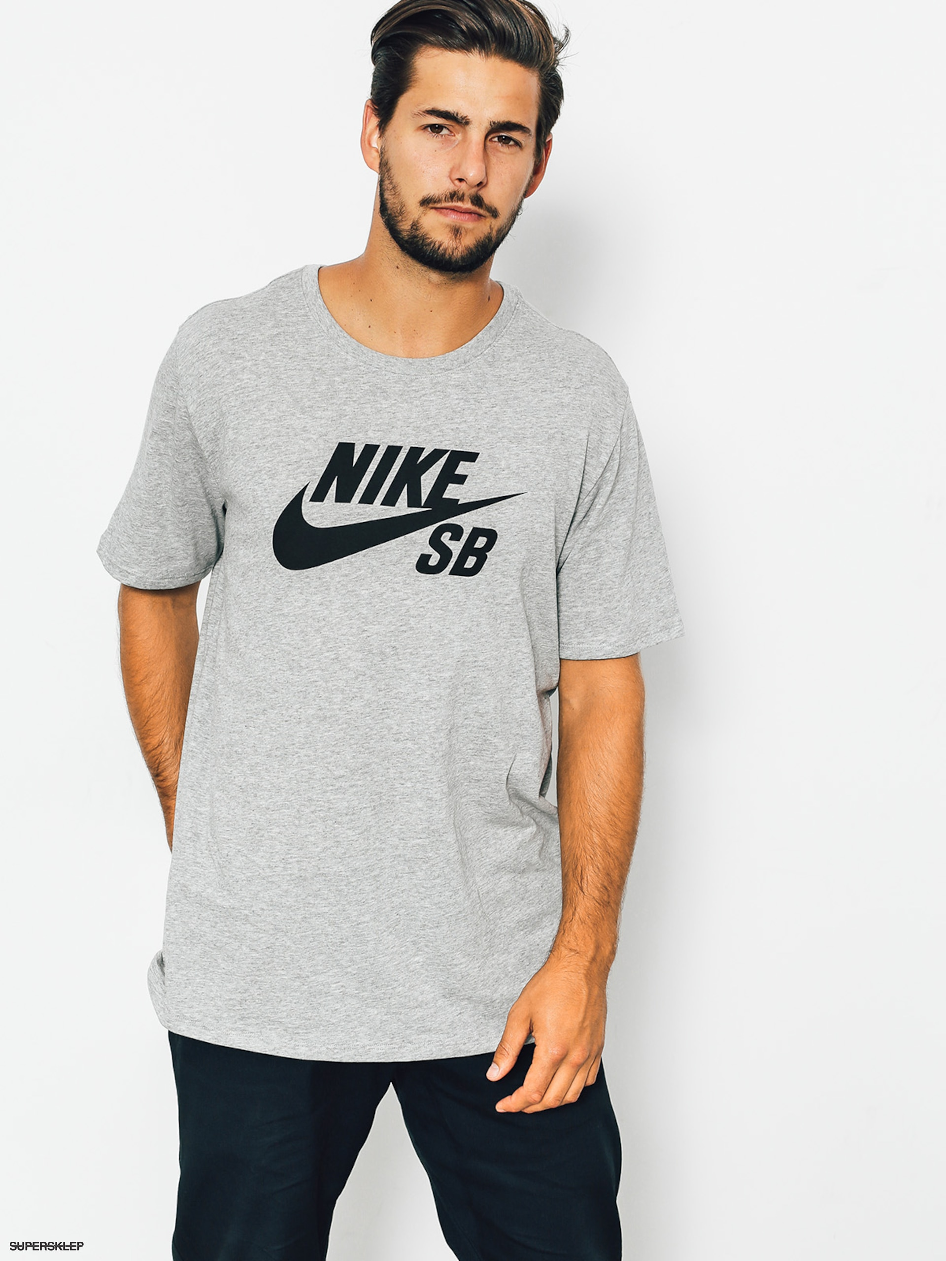 Nike SB Tričko Logo (dk grey heather/black)