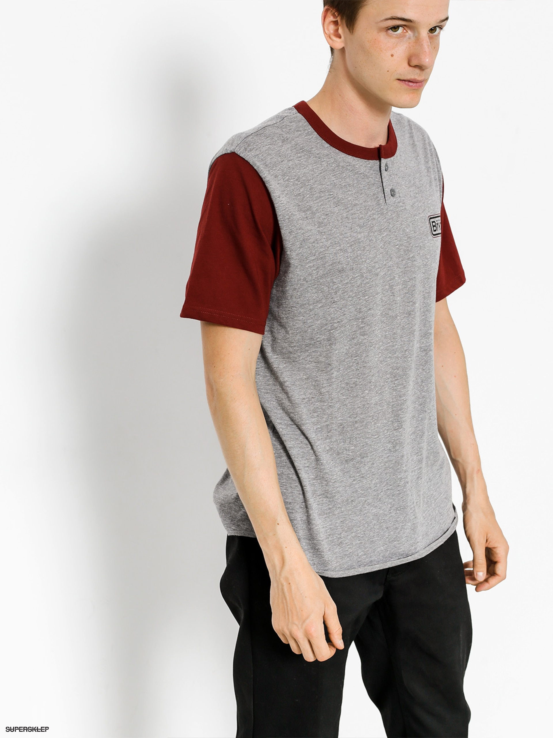 Brixton Tričko Springfield Henley (heather grey/burgundy)