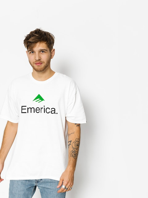Tričko Emerica Skateboard Logo (white/green)
