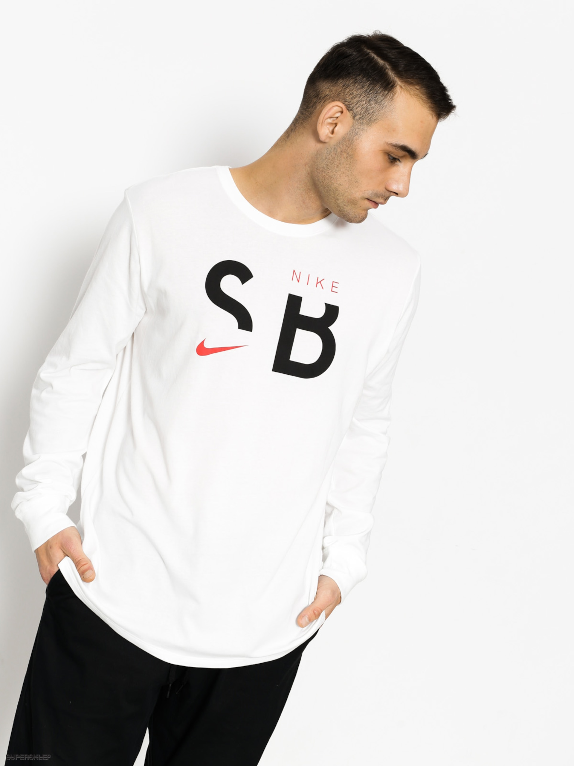 Tričko Nike SB Sb Dry Tee Dfc Ls Brnd (white/black/university red)