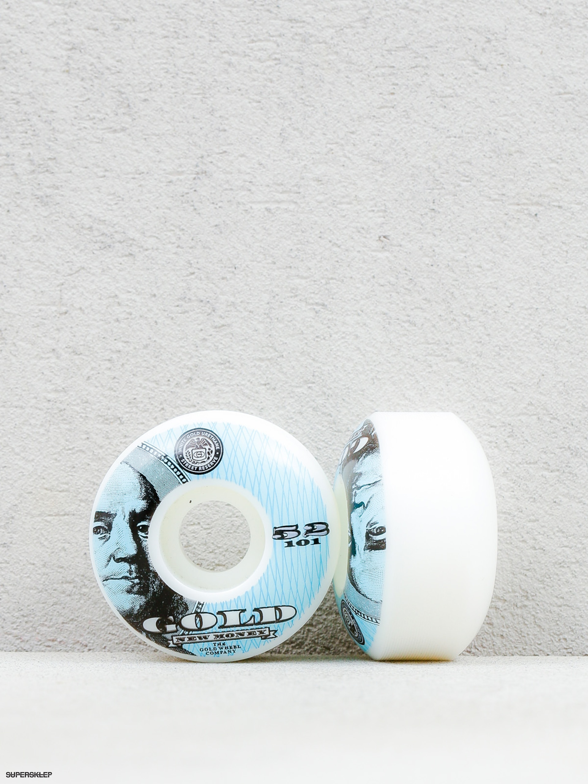 Kolečka Gold Wheels New Money (white/blue)