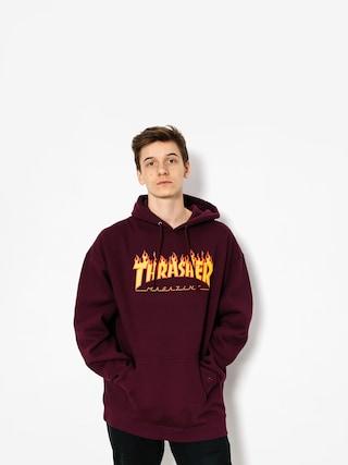 Mikina s kapucu00ed Thrasher Flame HD (maroon)