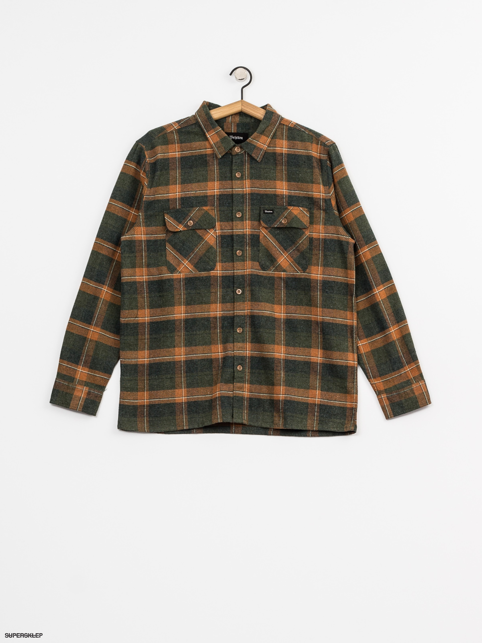 Košile Brixton Archie Flannel Ls (green plaid)