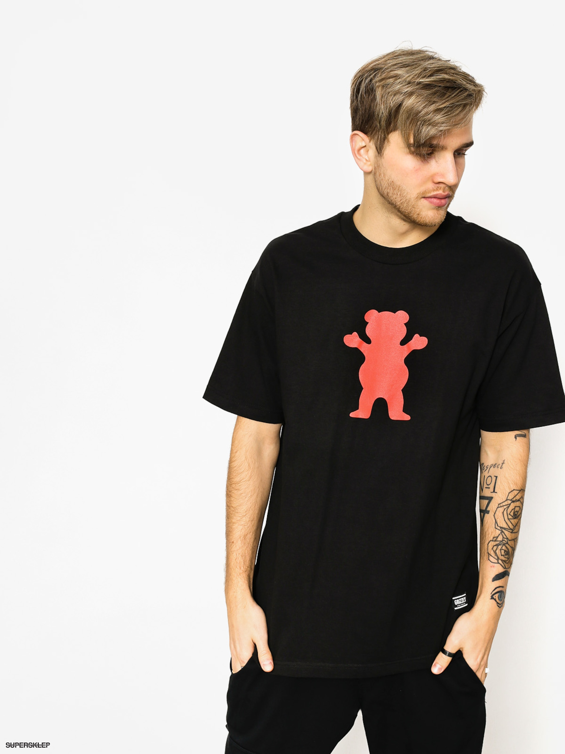 Tričko Grizzly Griptape Og Bear Basic (black/red)