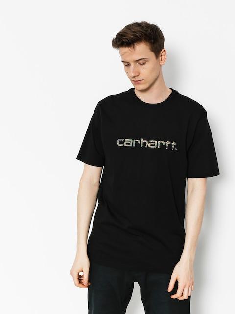 Tričko Carhartt Script (black/camo tiger laurel)
