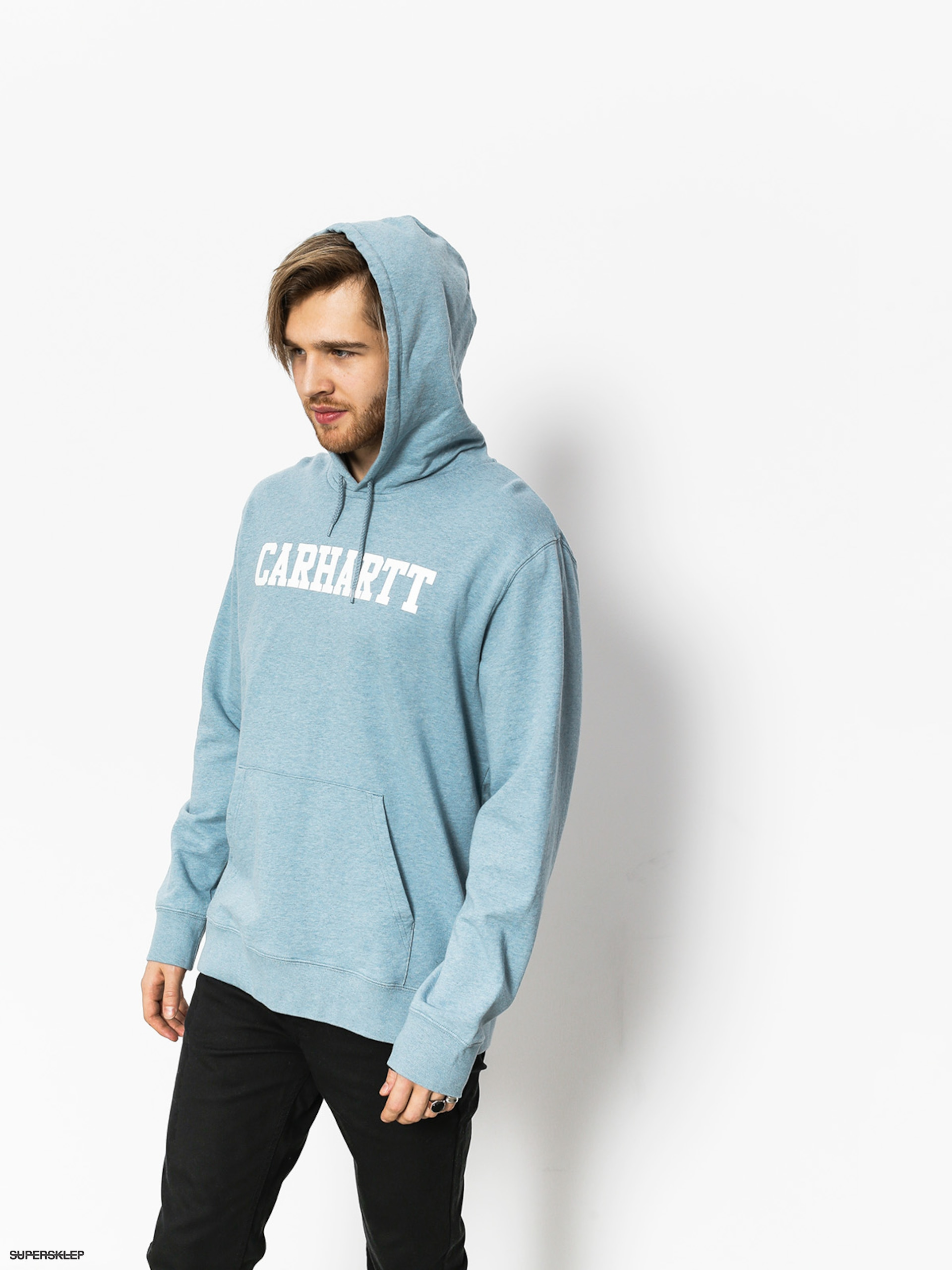 Mikina s kapucí Carhartt College HD (dusty blue heather/white)