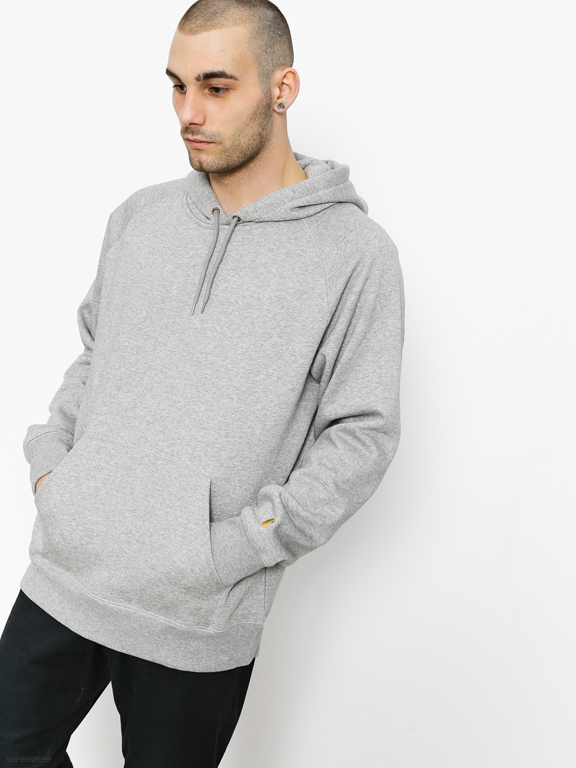 Mikina s kapucí Carhartt Chase HD (grey heather/gold)