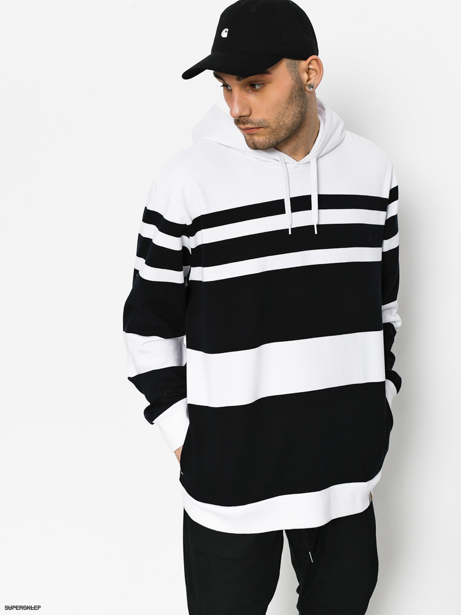 Mikina Carhartt Hooded Orlando (orlando stripe white/dark navy)