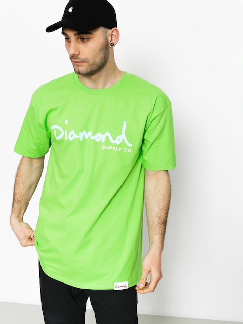 Tričko Diamond Supply Co. Og Script (lime)