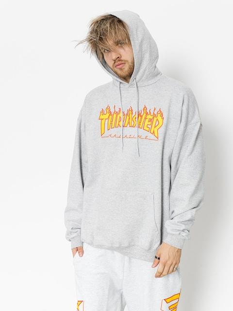 Thrasher Mikina s kapucí Flame HD (grey)
