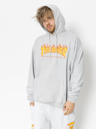 Thrasher Mikina s kapucu00ed Flame HD (grey)