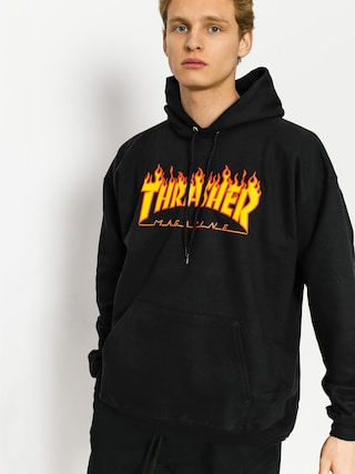 Mikina s kapucu00ed Thrasher Flame HD (black)